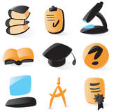 Smooth education icons. Set of smooth and glossy education icons. Vector illustration. Letter '?' is not part of any existing font, it was drawn by hand Royalty Free Stock Photos