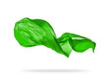 Smooth elegant green cloth on white background Stock Image
