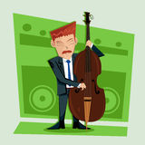 Smooth and elegant jazz contra bass player Stock Image