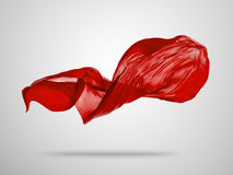 Smooth elegant red cloth on grey background Stock Photos