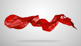 Smooth elegant red cloth on grey background Royalty Free Stock Photo