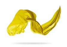 Smooth elegant yellow cloth on white background Stock Photo