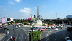 Smooth-flowing traffic condition at Victory Monument. Bangkok, Thailand - January 9, 2018: Smooth-flowing traffic condition at one of the city`s landmarks stock video