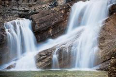 Smooth Flowing Waterfall. A smooth flowing waterfall in Waterton National Park of Alberta Stock Photography