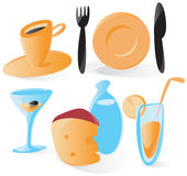 Smooth food and drink icons. Set of smooth and glossy icons with food and drinks. Vector illustration Royalty Free Stock Photography
