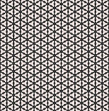 Smooth geometric figures on black background. Vector monochrome seamless pattern, smooth geometric triangles, small shapes, regular grid. Black & white Royalty Free Stock Images