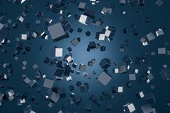 Art cute black cubes falling, blue background. Smooth and glossy black cubes falling over dark blue background. Concept of future technology, art and robotics Royalty Free Illustration