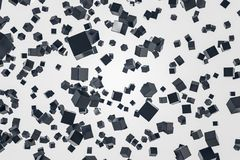 Art cute black cubes falling, white background. Smooth and glossy black cubes falling over white background. Concept of future technology, art and robotics. 3d Stock Illustration