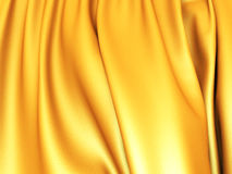 Smooth Gold Satin Cloth Wavy Folds Background. 3d render illustration Stock Photography