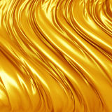 Smooth Gold Satin Cloth Wavy Folds Background. 3d render illustration Stock Images