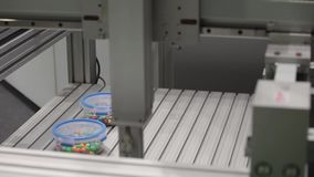 5-axis servo positioning device in action. Smooth, high speed, high accuracy operations with new generation synchronous communication network. 5-axis servo stock footage