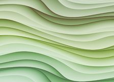 Smooth layered curve shapes abstract background design green white. Smooth layers of curves overlap each other in soft shades of green and white in this abstract Royalty Free Stock Images