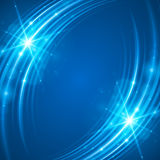 Smooth light blue waves lines and Lens Flares  abstract background. Good for promotion materials, brochures, banners. Abstract Backdrop, Glowing effects Royalty Free Stock Image