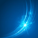 Smooth light blue waves lines and Lens Flares  abstract background. Good for promotion materials, brochures, banners. Abstract Backdrop, Glowing effects Royalty Free Stock Photo