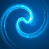 Smooth light blue waves lines and Lens Flares  abstract background. Good for promotion materials, brochures, banners. Abstract Backdrop, Glowing effects Royalty Free Stock Photography