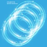 Smooth light blue waves lines and Lens Flares vector abstract background. Good for promotion materials, brochures Royalty Free Stock Photo
