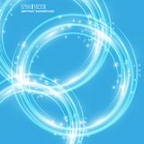 Smooth light blue waves lines and Lens Flares vector abstract background. Good for promotion materials, brochures Royalty Free Stock Photography