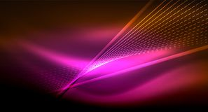 Smooth light effect, straight lines on glowing shiny neon dark background. Energy technology idea stock illustration