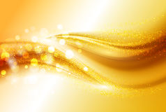 Smooth light gold waves lines and Lens Flares vector abstract background. Bokeh effect Royalty Free Stock Image