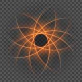 Smooth light orange lines on transparency background  illustration. Stock Photo