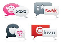 Smooth Love Chat Bubbles. Smooth-style chat bubbles with romantic messages on each; text created by contributor (myself Stock Photo