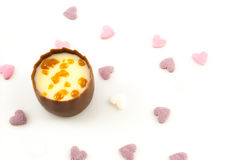 Smooth milk chocolate with a creamy caramel truffle center, decorated with crunchy caramel pieces Stock Images