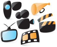 Smooth movie icons Stock Photography