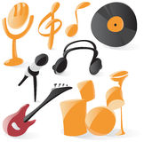 Smooth music icons Stock Photos