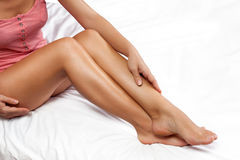 Smooth and nourished female legs Royalty Free Stock Photo