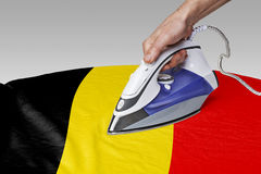Smooth out the wrinkles of Flag-Belgium Royalty Free Stock Photography