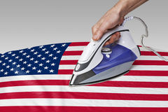 Smooth out the wrinkles of Flag-USA Stock Photography