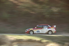Smooth pan of a rally car Stock Photos