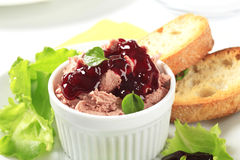 Smooth pate with cranberry sauce Stock Images