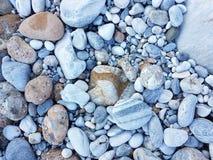 Smooth pebbles on a pebble beach Stock Photos