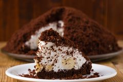 Smooth pie cake with banana Royalty Free Stock Photo