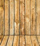 Pine plank wall and wooden floor interior background Stock Image