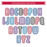 Smooth retro geometric characters set, vector Royalty Free Stock Images