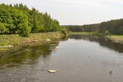 Smooth river Ros, Ukraine. Stock Photos