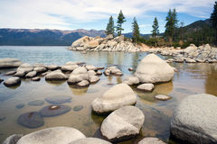 Smooth Rocks Clear Water Lake Tahoe Sand Harbor Royalty Free Stock Images