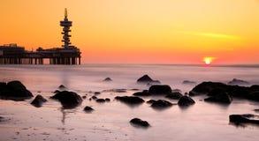 Smooth rocks sunset Stock Image