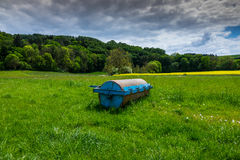 Smooth roller in s field in the sunlight Royalty Free Stock Photos