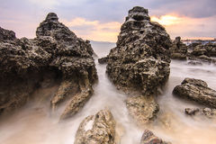 Smooth sea on the rock. At phuket thailand stock photos
