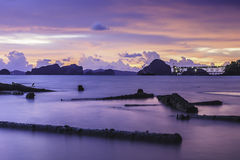 Smooth sea twilight. At krabi thailand royalty free stock photos