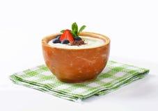 Smooth semolina porridge with fresh fruit and chocolate. Smooth semolina porridge served with fresh fruit and grated chocolate Stock Images