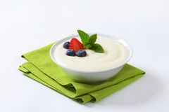 Smooth semolina porridge with fresh fruit royalty free stock photo