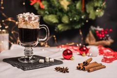 Smooth shady christmas and new year decoration background with round bokeh and cup of coffee with marshmallow. Smooth shady christmas and new year decoration royalty free stock image