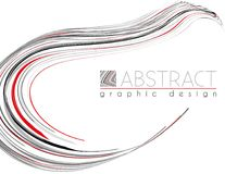 Smooth shape. Abstract template with black, red and gray strips. Smooth shape. Abstract template of page with black, red and gray thin stripes. Vector graphic Stock Photos