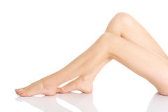 Smooth, shaved woman's legs. Stock Image