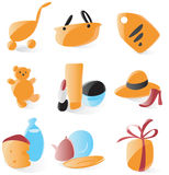 Smooth shopping icons. Set of smooth and glossy shopping icons. Vector illustration Stock Photo