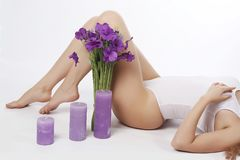 Smooth and silky female feet. Depilation. Shugaring. Beautiful slender female legs with silky skin, hair removal, depilation, shugaring, underwear Stock Photos